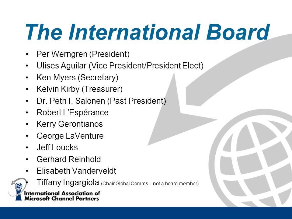 The International Board Per Werngren (President) Ulises Aguilar (Vice President/President Elect) Ken Myers (Secretary) Kelvin Kirby (Treasurer) Dr. Pe