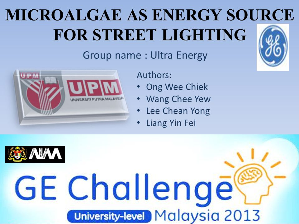MICROALGAE AS ENERGY SOURCE FOR STREET LIGHTING Group name : Ultra Energy Authors: Ong Wee Chiek Wang Chee Yew Lee Chean Yong Liang Yin Fei