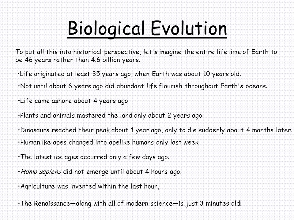 Biological Evolution To put all this into historical perspective, let s imagine the entire lifetime of Earth to be 46 years rather than 4.6 billion years.