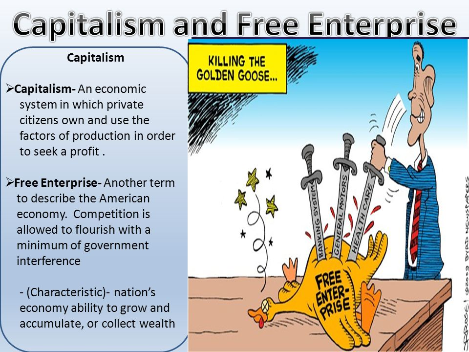 Capitalism  Capitalism- An economic system in which private citizens own and use the factors of production in order to seek a profit.