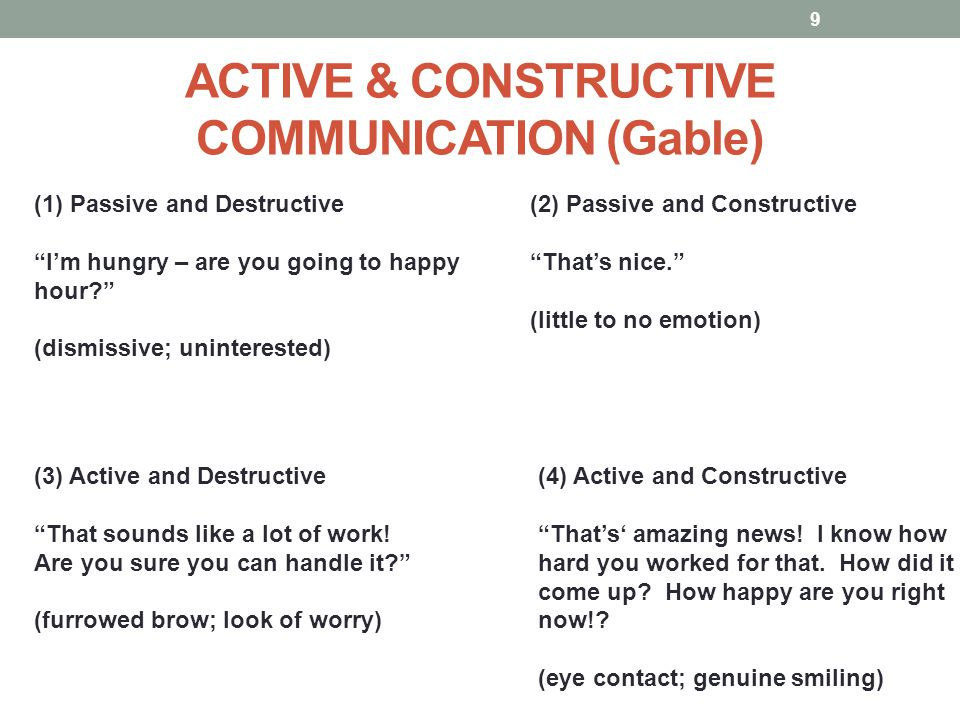 "ACTIVE & CONSTRUCTIVE COMMUNICATION (Gable) 9 (4) Active and Constructive ""That's' amazing news! I know how hard you worked for that. How did it come"