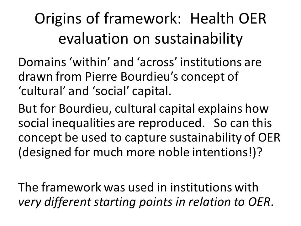 1 Long-lasting dispositions to OER (acceptability, relevance, and preparedness for OER) strong evidence that an OER culture has taken hold, and that it exists at a deep-seated level informed by reflection on experience not yet a sufficient critical mass of academics who are confident, competent and active in OER production and use to ensure OER sustainability, but there are signs that the culture of OER is spreading slowly but surely.