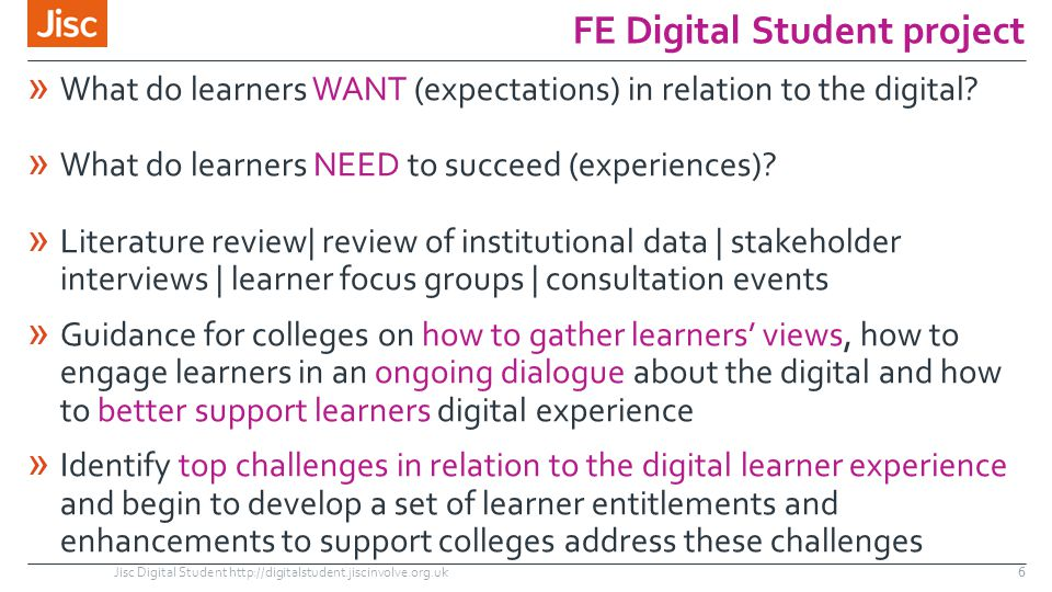 FE Digital Student project » What do learners WANT (expectations) in relation to the digital? » What do learners NEED to succeed (experiences)? » Lite