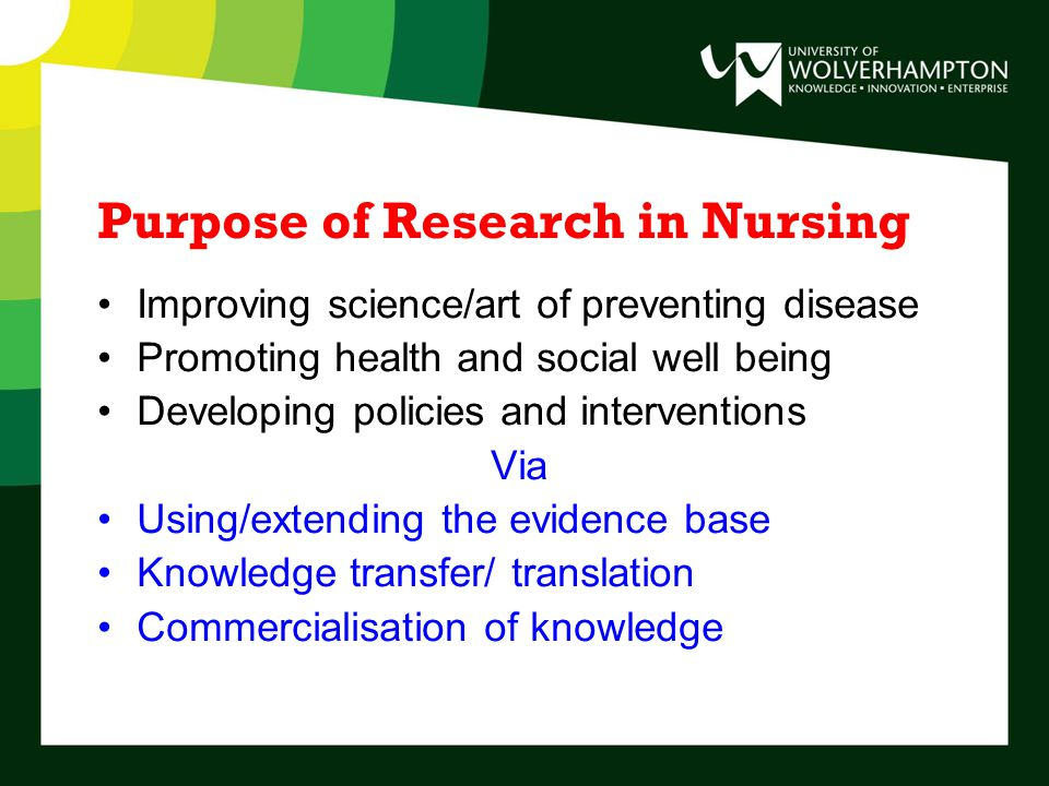 Purpose of Research in Nursing Improving science/art of preventing disease Promoting health and social well being Developing policies and interventions Via Using/extending the evidence base Knowledge transfer/ translation Commercialisation of knowledge