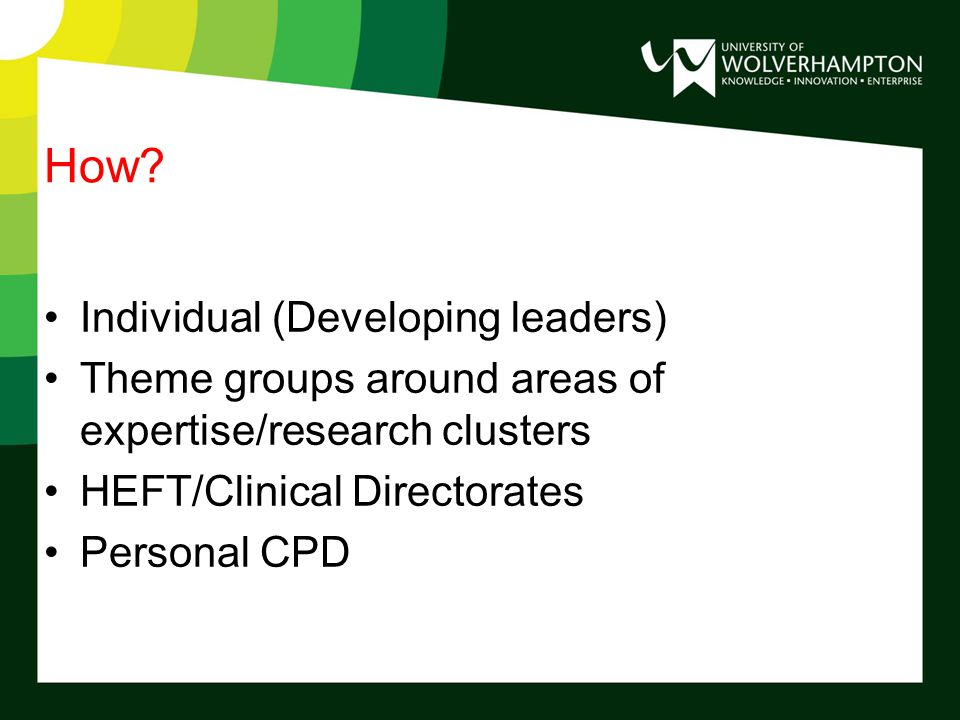 Individual Valuing individuals (recognising potential) Identifying/assessing needs and opportunities (link with personal/professional CPD) Optimising and identifying links and partnerships to assist development Focussed and needs led Interdisciplinary scholarship/awaydays Direct supervision/buddying/mentorship