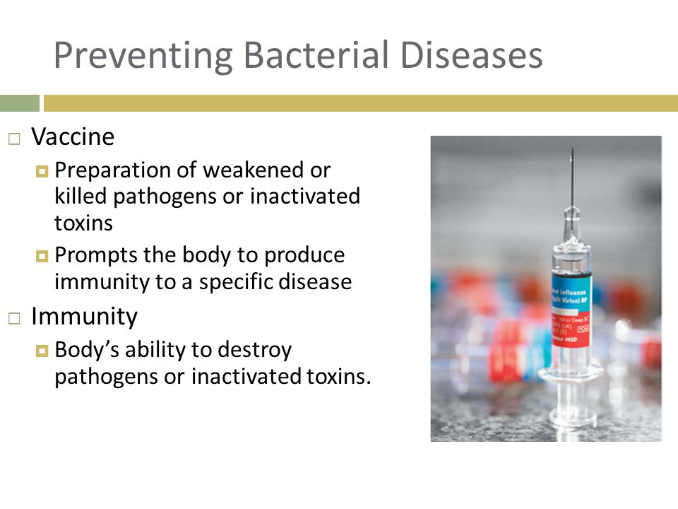 Preventing Bacterial Diseases  Vaccine  Preparation of weakened or killed pathogens or inactivated toxins  Prompts the body to produce immunity to