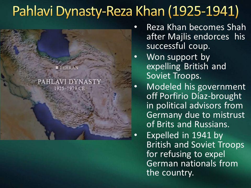 Reza Khan becomes Shah after Majlis endorces his successful coup.