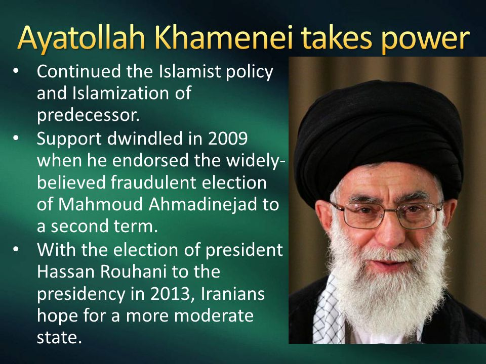 Continued the Islamist policy and Islamization of predecessor. Support dwindled in 2009 when he endorsed the widely- believed fraudulent election of M