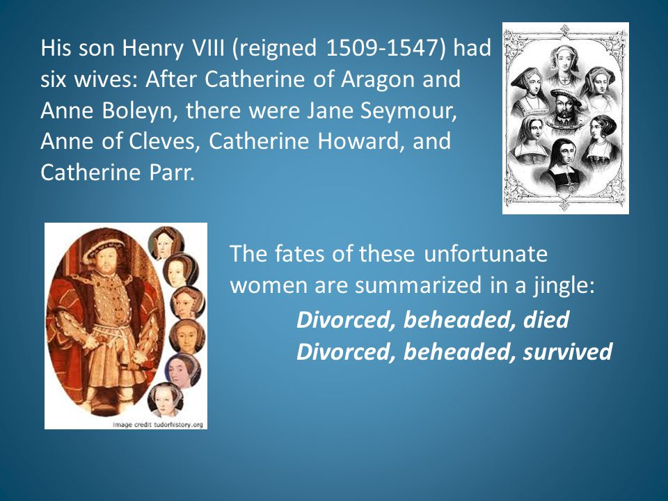 His son Henry VIII (reigned 1509-1547) had six wives: After Catherine of Aragon and Anne Boleyn, there were Jane Seymour, Anne of Cleves, Catherine Ho
