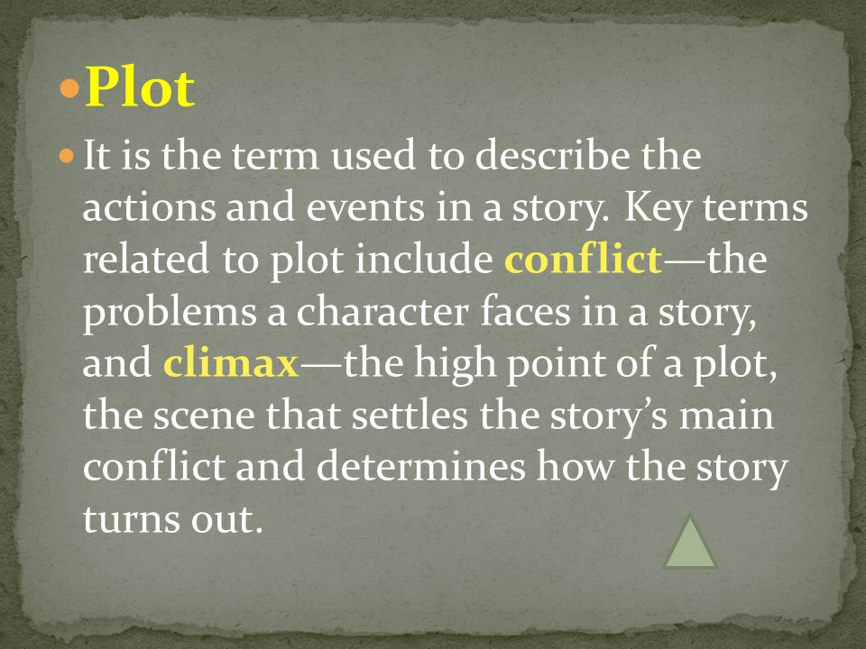 Plot It is the term used to describe the actions and events in a story. Key terms related to plot include conflict—the problems a character faces in a