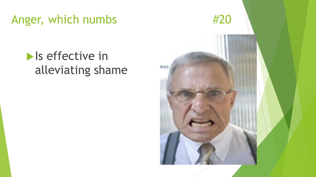 Anger, which numbs#20  Is effective in alleviating shame