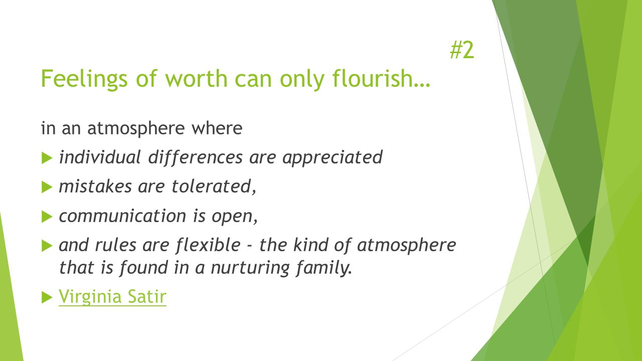 #2 Feelings of worth can only flourish… in an atmosphere where  individual differences are appreciated  mistakes are tolerated,  communication is open,  and rules are flexible - the kind of atmosphere that is found in a nurturing family.