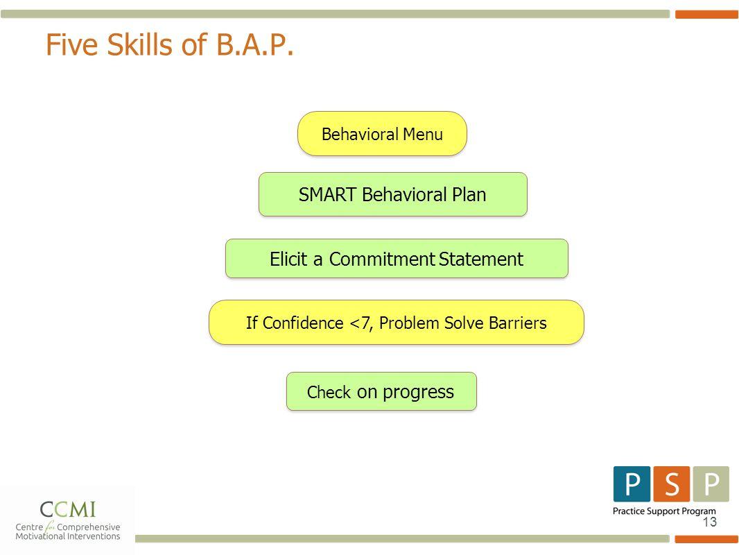 13 Five Skills of B.A.P. Behavioral Menu If Confidence <7, Problem Solve Barriers Check on progress Elicit a Commitment Statement SMART Behavioral Pla