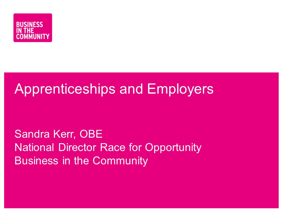 www.bitc.org.uk Apprenticeships and Employers Sandra Kerr, OBE National Director Race for Opportunity Business in the Community