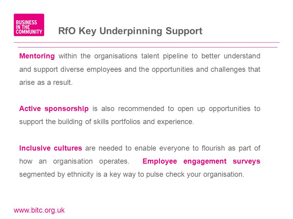 www.bitc.org.uk RfO Key Underpinning Support Mentoring within the organisations talent pipeline to better understand and support diverse employees and the opportunities and challenges that arise as a result.