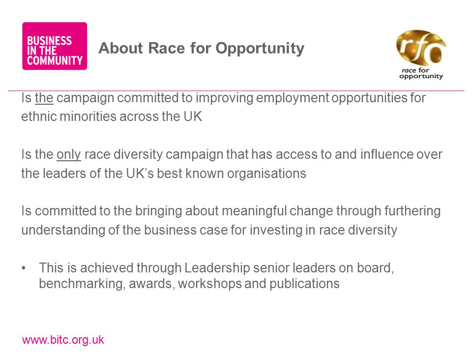 www.bitc.org.uk Is the campaign committed to improving employment opportunities for ethnic minorities across the UK Is the only race diversity campaign that has access to and influence over the leaders of the UK's best known organisations Is committed to the bringing about meaningful change through furthering understanding of the business case for investing in race diversity This is achieved through Leadership senior leaders on board, benchmarking, awards, workshops and publications About Race for Opportunity