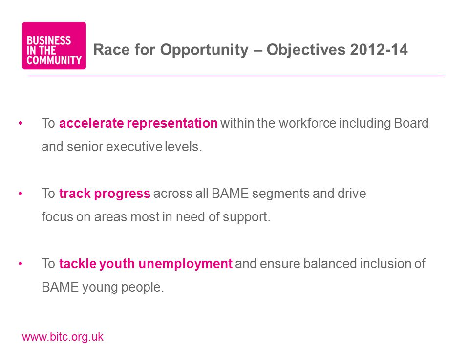 www.bitc.org.uk Race for Opportunity – Objectives 2012-14 To accelerate representation within the workforce including Board and senior executive levels.