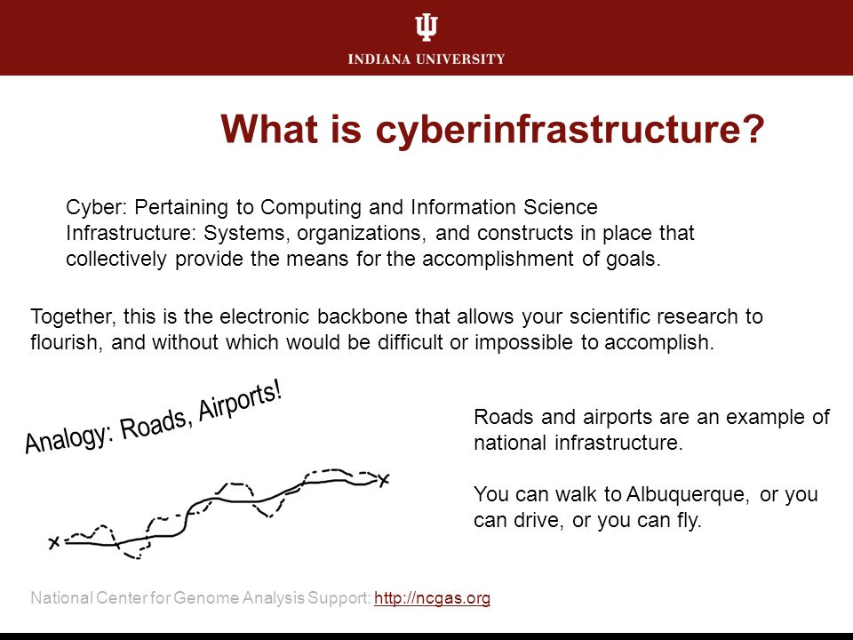National Center for Genome Analysis Support: http://ncgas.orghttp://ncgas.org What is cyberinfrastructure? Cyber: Pertaining to Computing and Informat