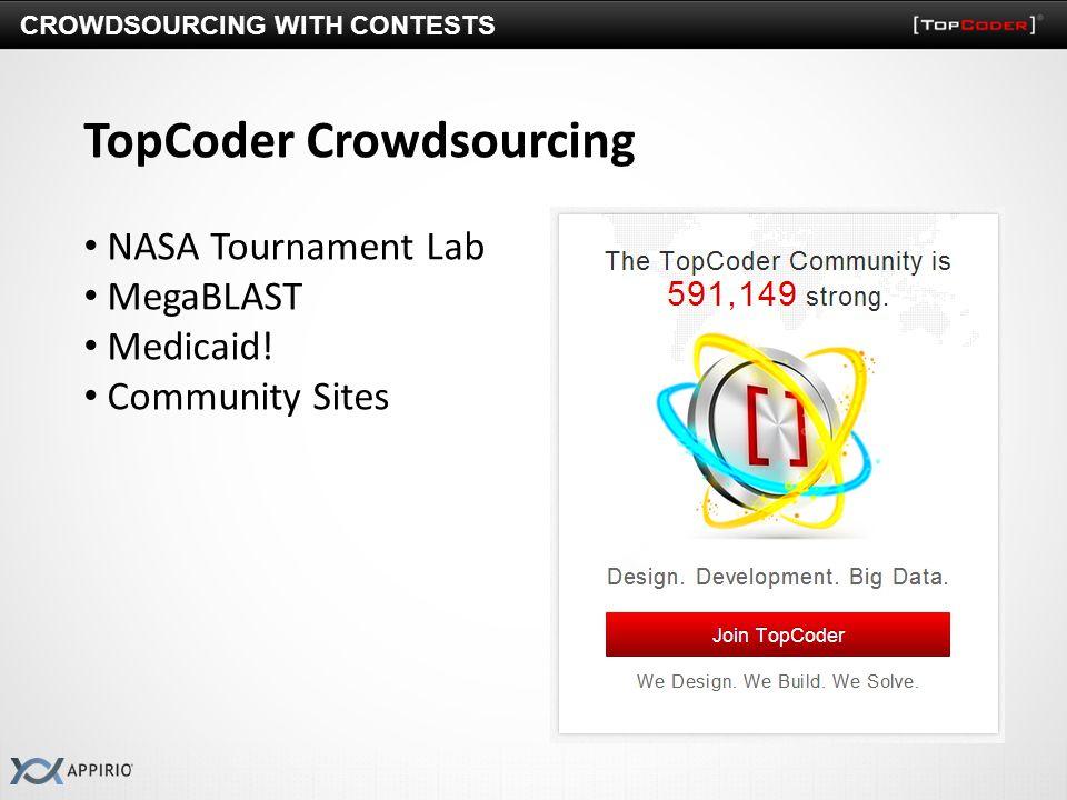 TopCoder Crowdsourcing NASA Tournament Lab MegaBLAST Medicaid! Community Sites CROWDSOURCING WITH CONTESTS