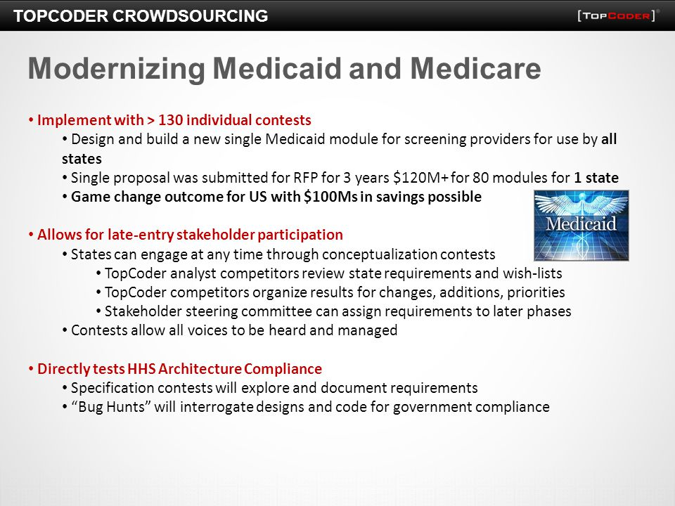 TOPCODER CROWDSOURCING Modernizing Medicaid and Medicare Implement with > 130 individual contests Design and build a new single Medicaid module for sc
