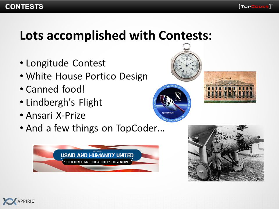 CONTESTS Lots accomplished with Contests: Longitude Contest White House Portico Design Canned food.