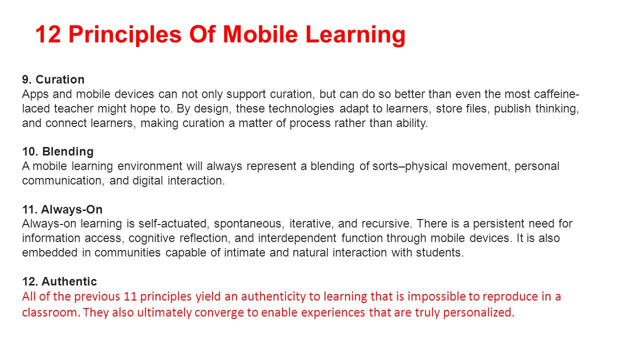 12 Principles Of Mobile Learning 9.