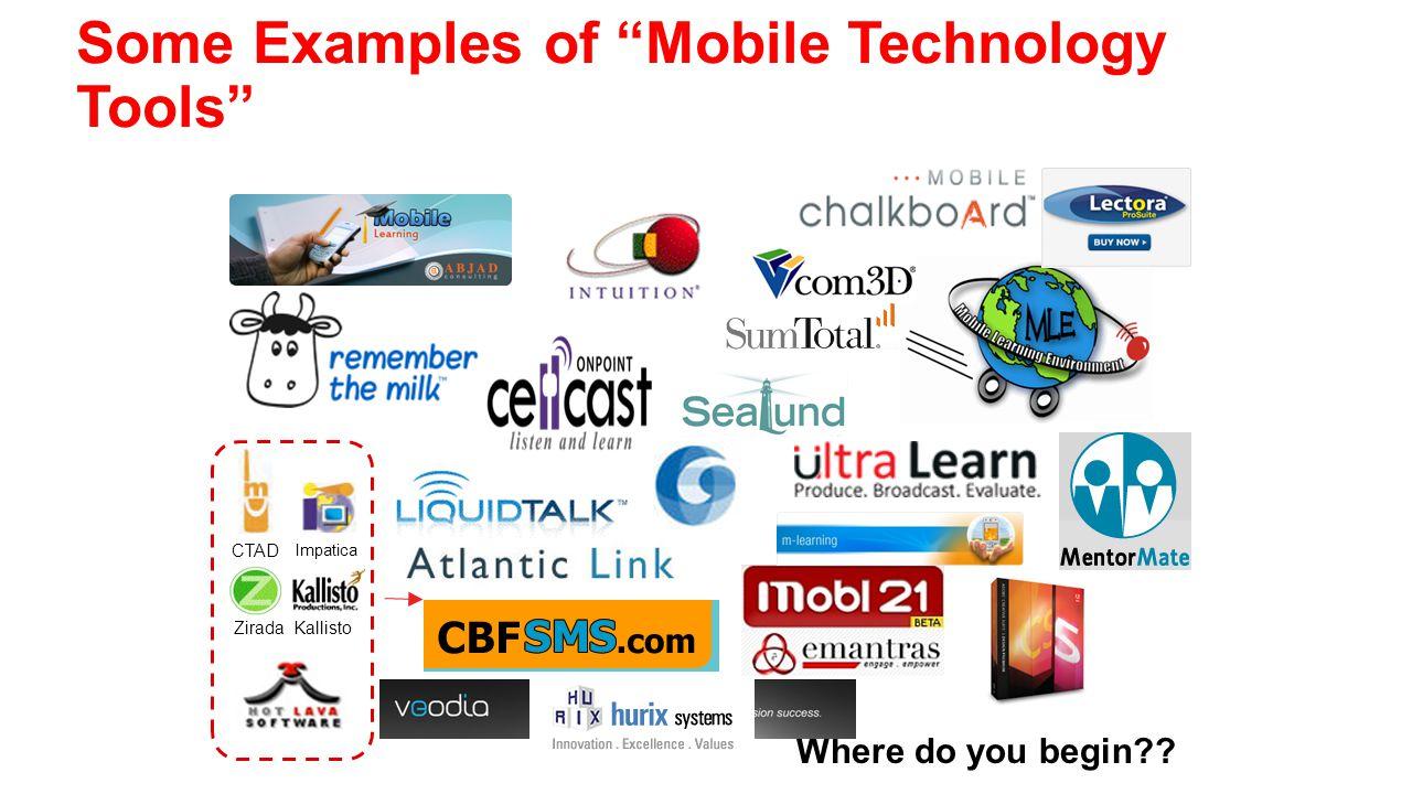 Some Examples of Mobile Technology Tools Where do you begin?? Zirada Kallisto Impatica CTAD
