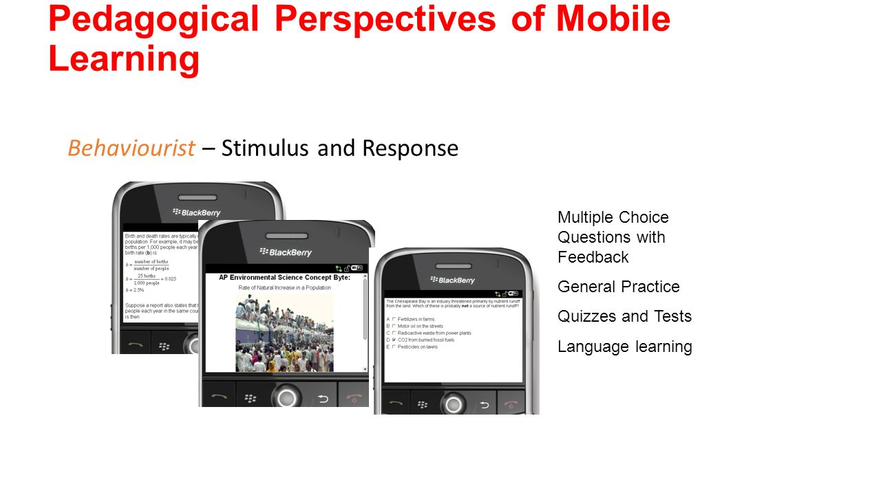 Pedagogical Perspectives of Mobile Learning Behaviourist – Stimulus and Response Multiple Choice Questions with Feedback General Practice Quizzes and Tests Language learning