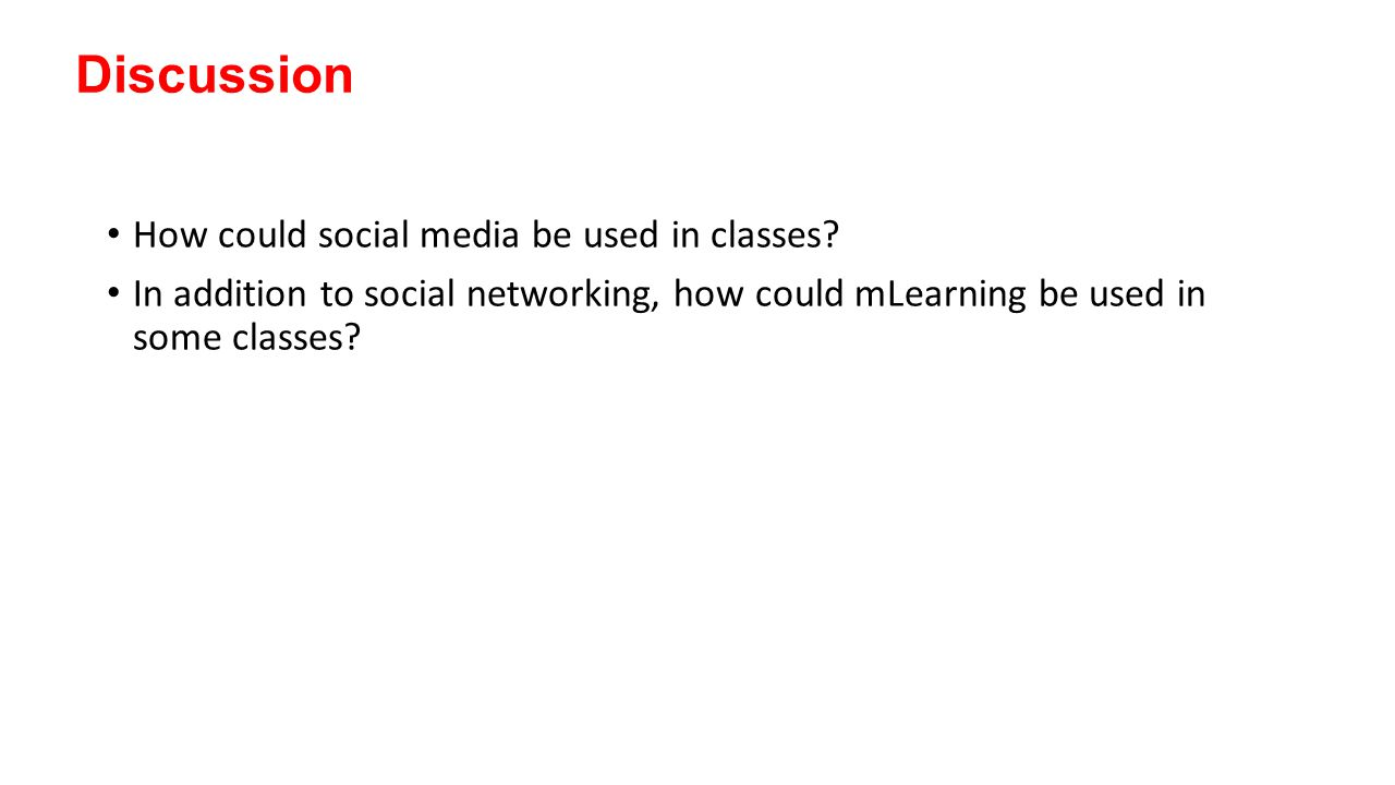 Discussion How could social media be used in classes.