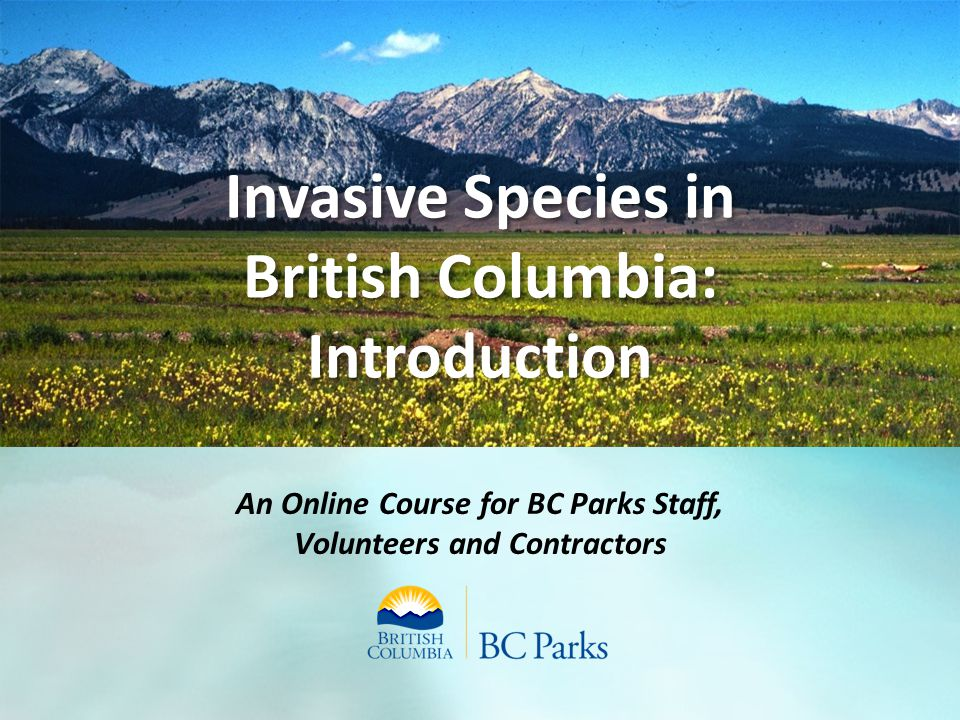 Invasive Species in British Columbia: Introduction An Online Course for BC Parks Staff, Volunteers and Contractors
