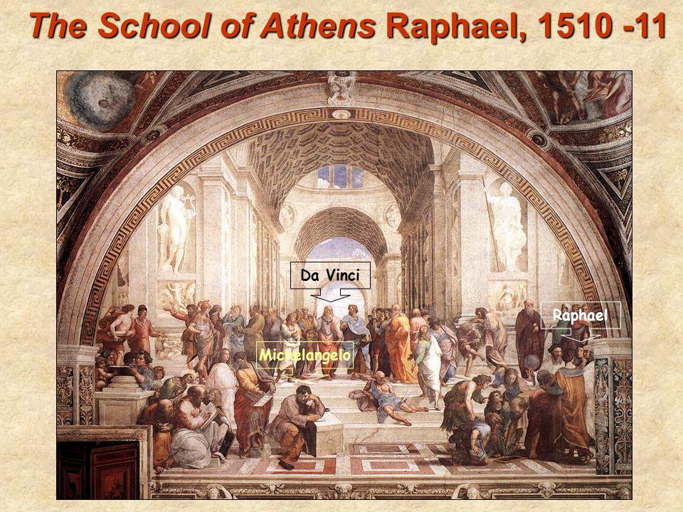 The School of Athens Raphael, 1510 -11 Raphael Da Vinci Michelangelo