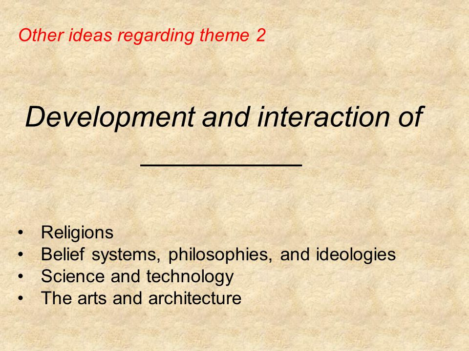 Development and interaction of __________ Religions Belief systems, philosophies, and ideologies Science and technology The arts and architecture Other ideas regarding theme 2