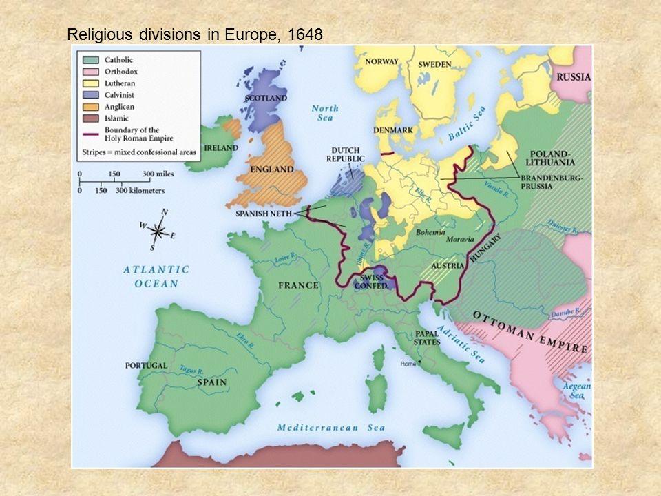 Religious divisions in Europe, 1648