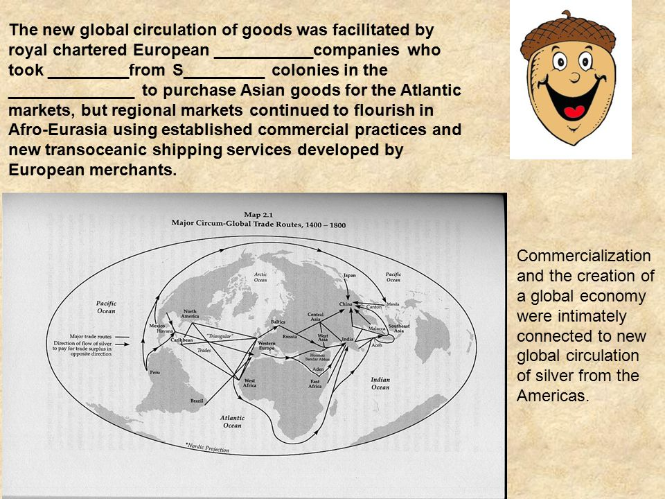 The new global circulation of goods was facilitated by royal chartered European ___________companies who took _________from S_________ colonies in the ______________ to purchase Asian goods for the Atlantic markets, but regional markets continued to flourish in Afro-Eurasia using established commercial practices and new transoceanic shipping services developed by European merchants.