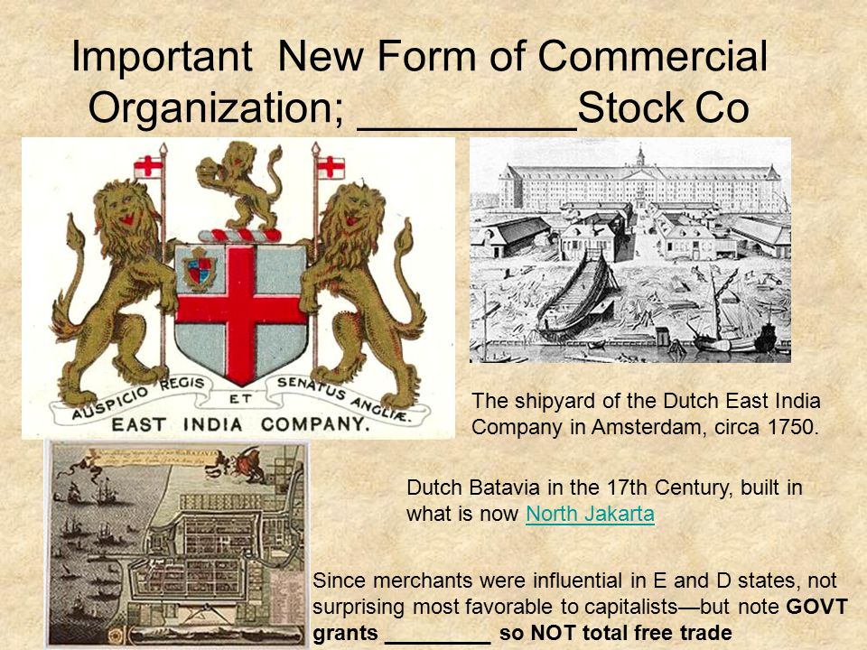 Important New Form of Commercial Organization; _________Stock Co The shipyard of the Dutch East India Company in Amsterdam, circa 1750.