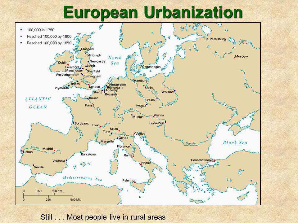 European Urbanization Still... Most people live in rural areas