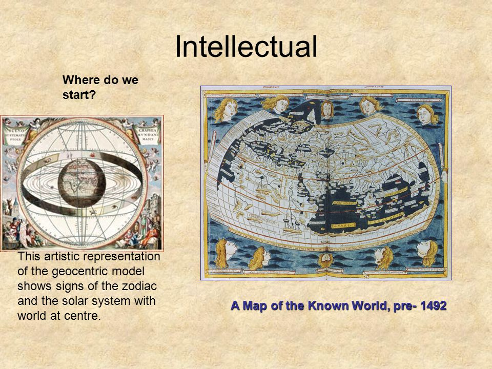 Intellectual A Map of the Known World, pre- 1492 Where do we start.