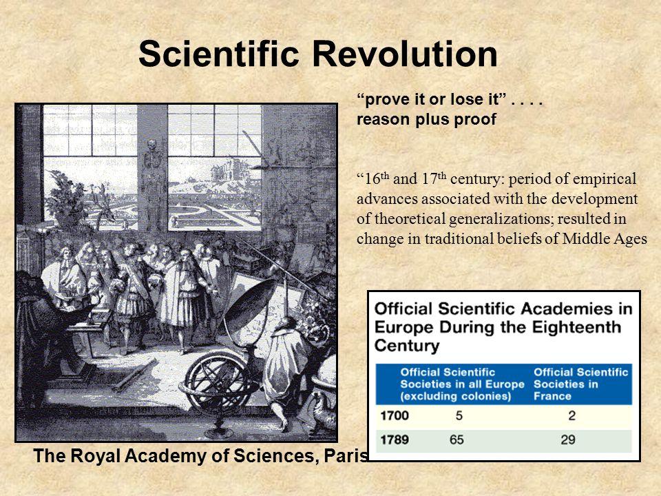 The Royal Academy of Sciences, Paris Scientific Revolution prove it or lose it ....