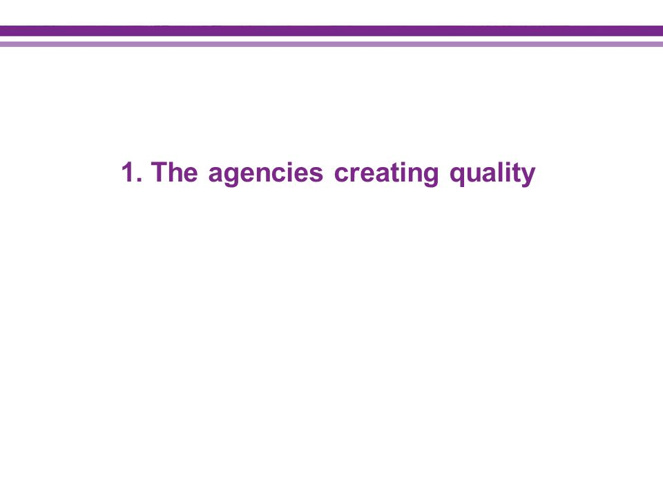 1. The agencies creating quality