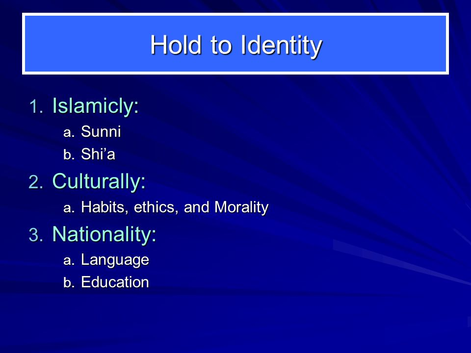 Identity in America 1. Born in America and raised by immigrant parents a.Middle Eastern b.Irish c.Chinese d.Buddhist, Hindu, Jewish, or other identiti