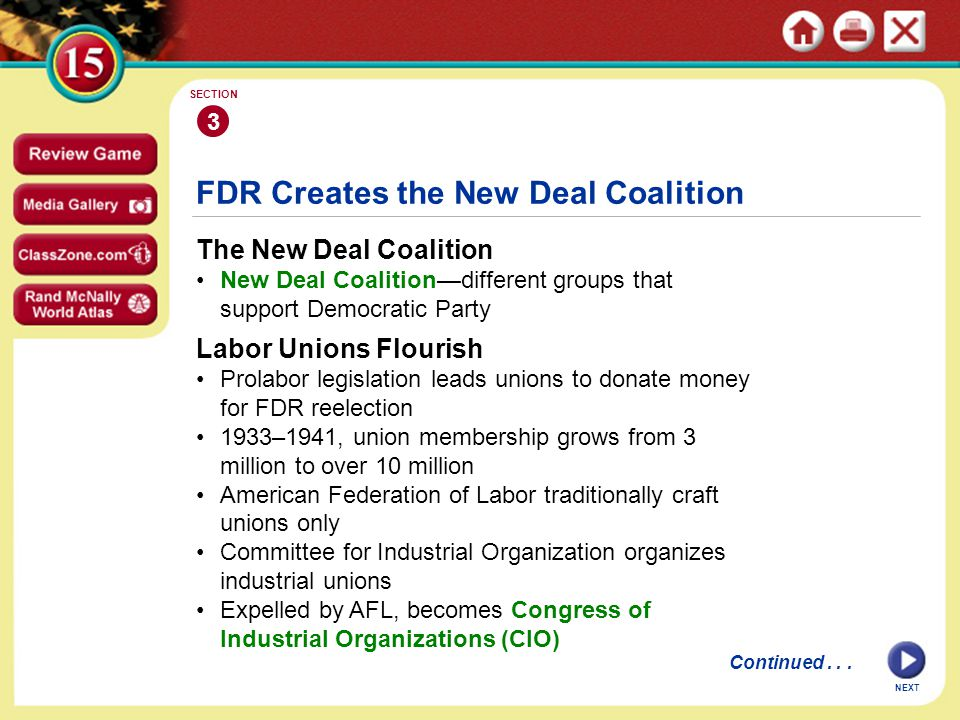 NEXT FDR Creates the New Deal Coalition The New Deal Coalition New Deal Coalition—different groups that support Democratic Party 3 SECTION Labor Unions Flourish Prolabor legislation leads unions to donate money for FDR reelection 1933–1941, union membership grows from 3 million to over 10 million American Federation of Labor traditionally craft unions only Committee for Industrial Organization organizes industrial unions Expelled by AFL, becomes Congress of Industrial Organizations (CIO) Continued...