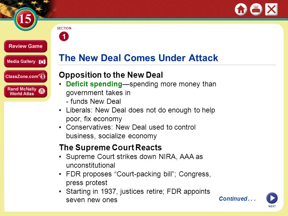 continued The New Deal Comes Under Attack Three Fiery Critics Some conservative opponents form American Liberty League Think measures violate respect for personal rights, property Father Charles Coughlin withdraws initial support of New Deal - wants guaranteed income, banks nationalized Dr.
