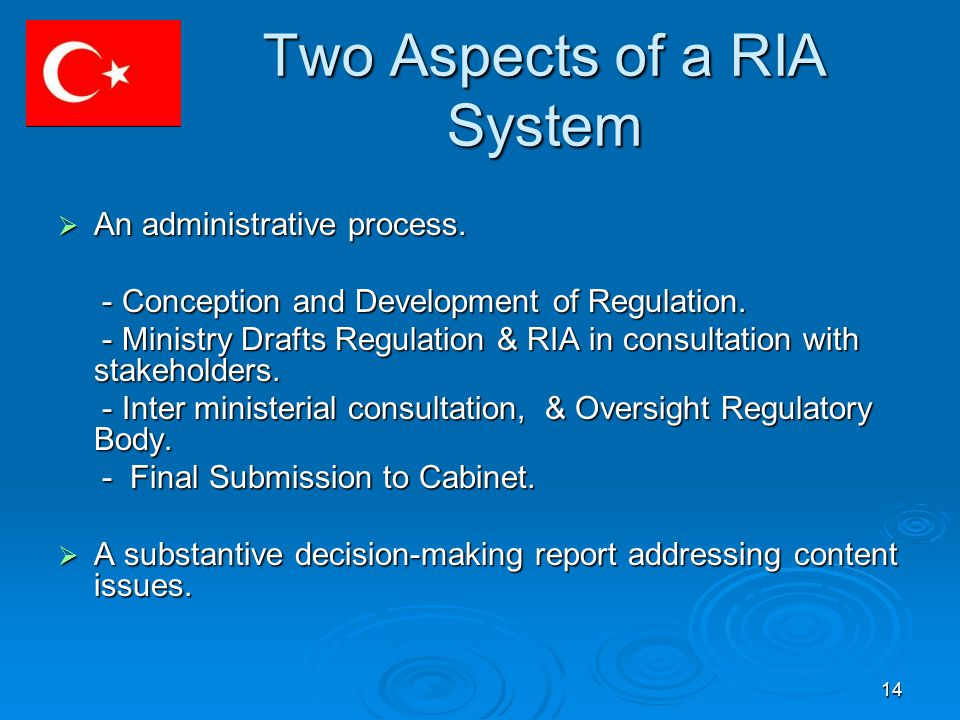 14 Two Aspects of a RIA System  An administrative process.
