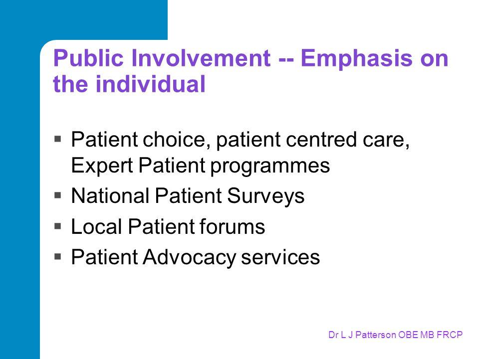 Dr L J Patterson OBE MB FRCP Public Involvement -- Emphasis on the individual  Patient choice, patient centred care, Expert Patient programmes  National Patient Surveys  Local Patient forums  Patient Advocacy services