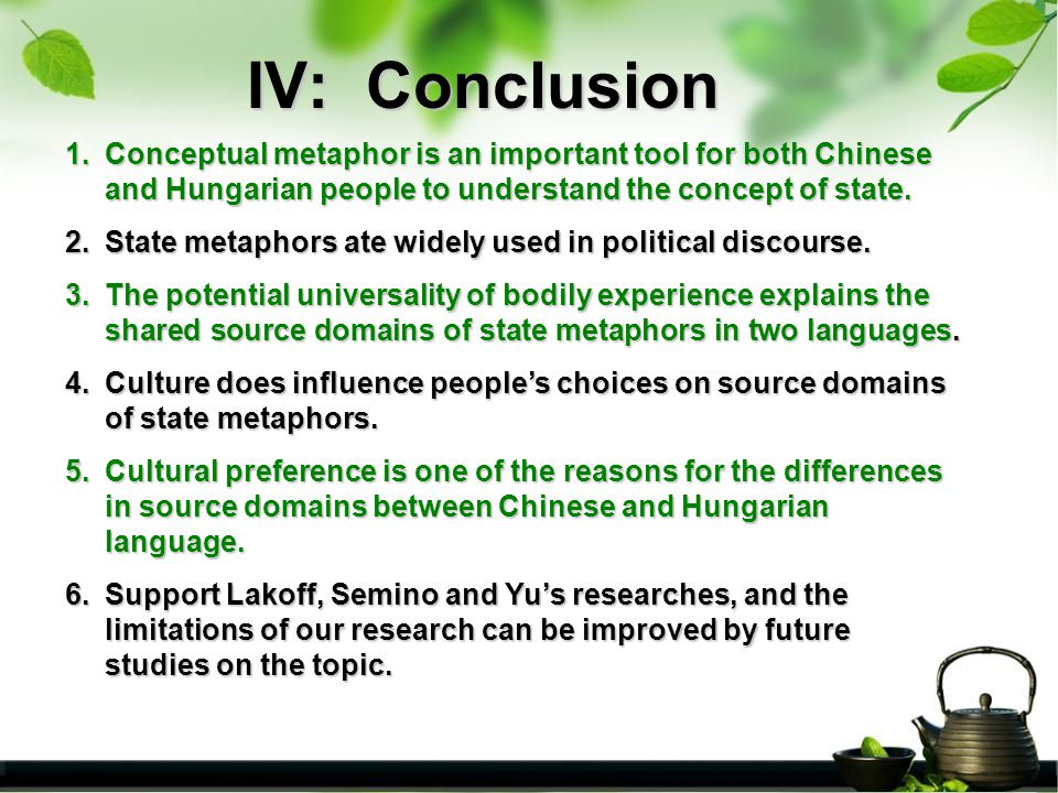 IV: Conclusion 1.Conceptual 1.Conceptual metaphor is an important tool for both Chinese and Hungarian people to understand the concept of state.