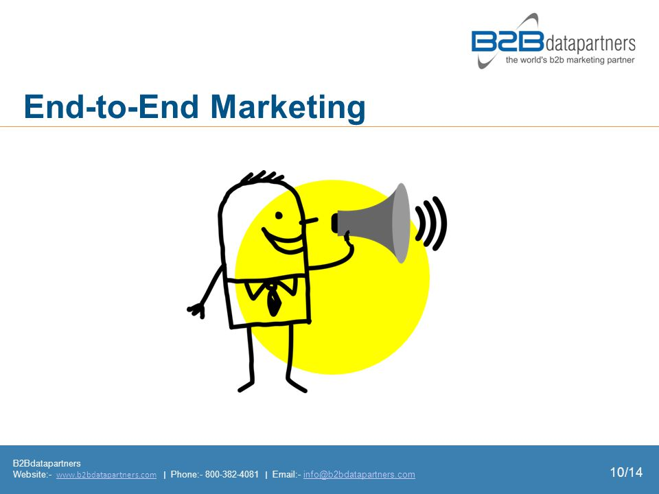 B2Bdatapartners Website:- www.b2bdatapartners.com | Phone:- 800-382-4081 | Email:- info@b2bdatapartners.comwww.b2bdatapartners.cominfo@b2bdatapartners.com End-to-End Marketing 10/14