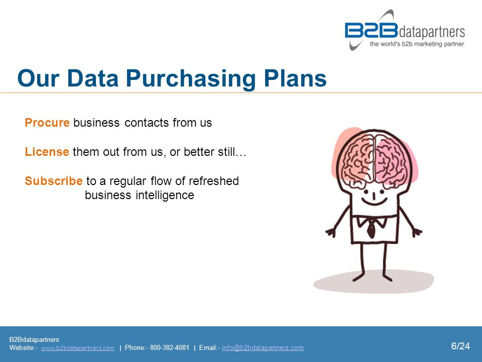 Our Data Purchasing Plans Procure business contacts from us License them out from us, or better still… Subscribe to a regular flow of refreshed business intelligence B2Bdatapartners Website:- www.b2bdatapartners.com | Phone:- 800-382-4081 | Email:- info@b2bdatapartners.comwww.b2bdatapartners.cominfo@b2bdatapartners.com 6/24