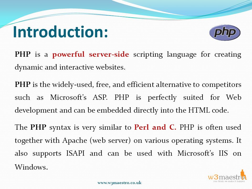 Introduction: PHP is a powerful server-side scripting language for creating dynamic and interactive websites.