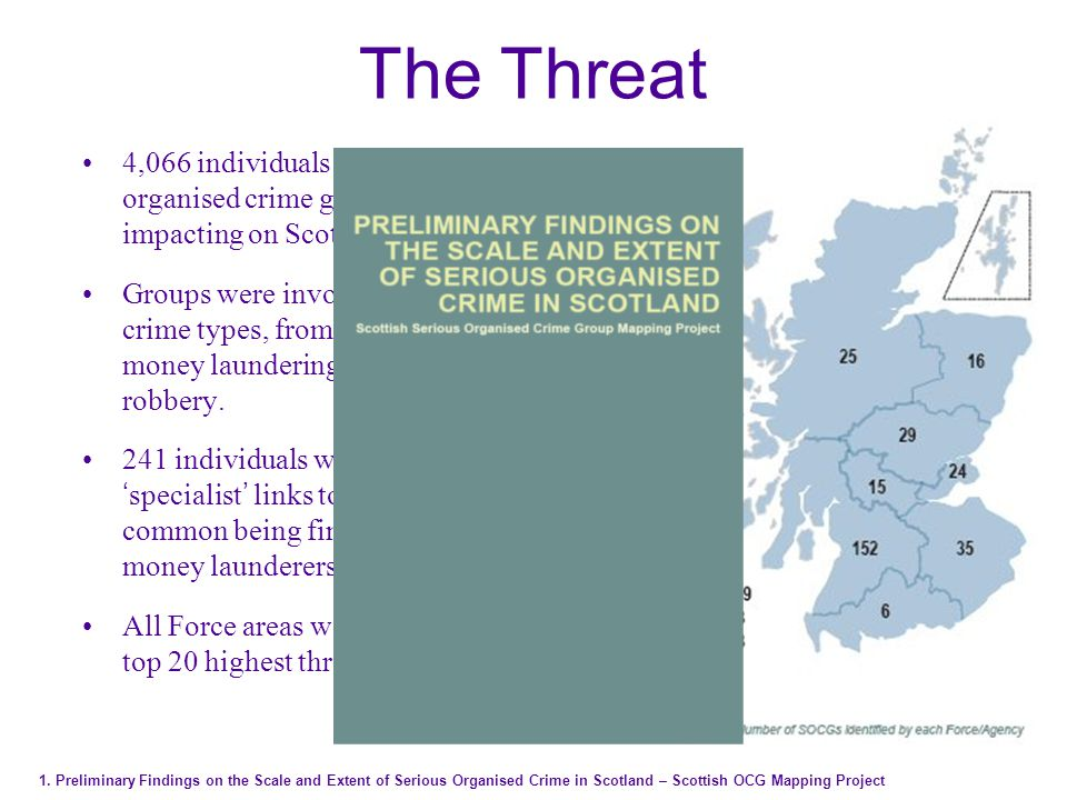 4,066 individuals representing 367 serious organised crime groups (SOCGs) impacting on Scotland.
