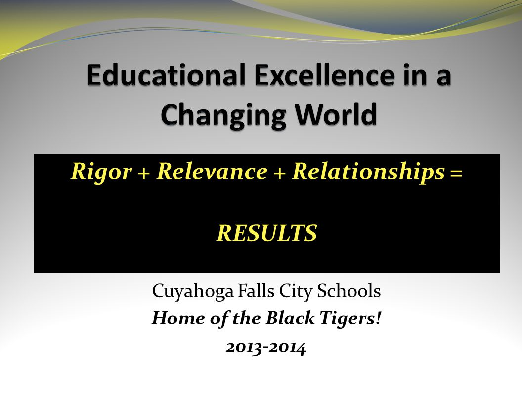Rigor + Relevance + Relationships = RESULTS Cuyahoga Falls City Schools Home of the Black Tigers.
